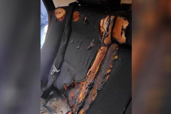 Сгоревший автомобиль в котором находился ребёнок